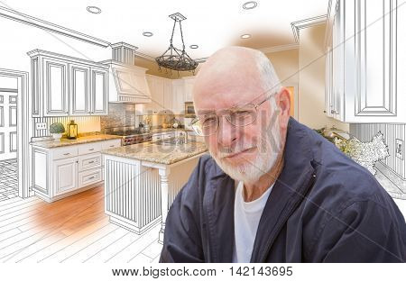 Happy Senior Man Over Custom Kitchen Design Drawing and Photo.