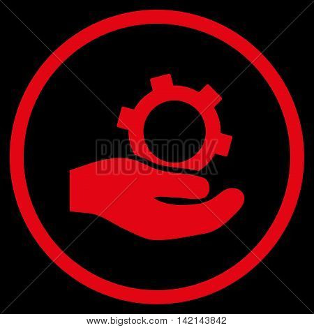 Engineering Service vector icon. Style is flat rounded iconic symbol, engineering service icon is drawn with red color on a black background.
