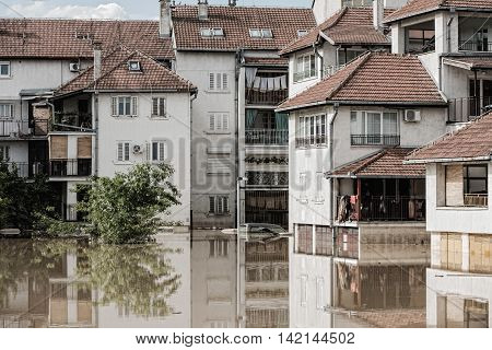Flood in town, , color image, horizontal image,