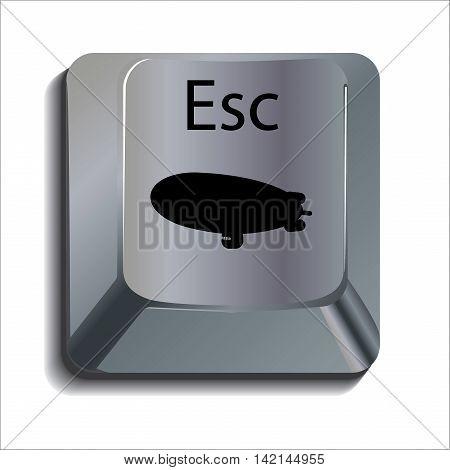 Blimp Escape Shiny Computer Key Button Concept