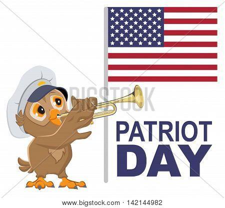 Patriot Day USA. Owl bugler in white cap plays horn. Vector cartoon illustration