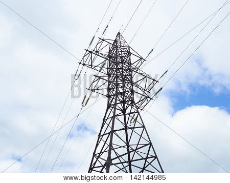 high voltage post.High -voltage tower sky background
