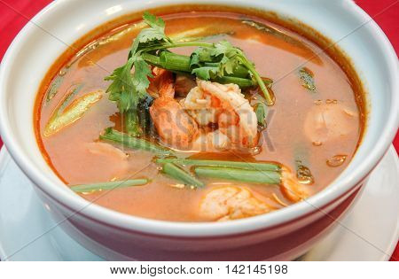 Tom Yam Kung spicy thai soup style