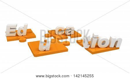 3D render of Puzzle pieces showing the word education for higher learning