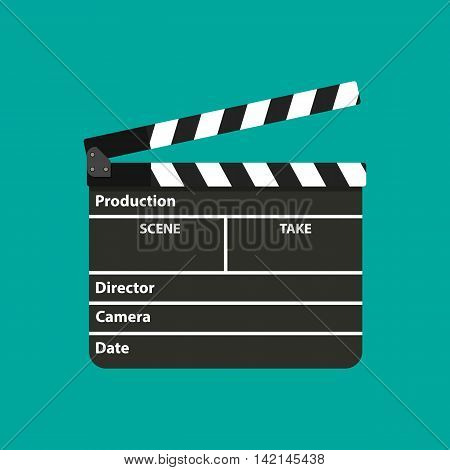 Black opened clapperboard. Movie clapper board. vector illustration in flat style on green background