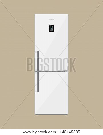 Household appliances freezer. Modern electronic device refrigerator with lcd display. fridge with closed magnet door. vector illustration in flat style