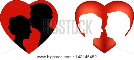 Silhouettes of loving couple for you design