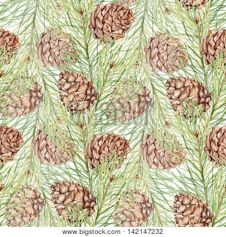 Seamless pattern-2 with pine cones and pine branches. Watercolor painting. Handmade drawing. For the Christmas design and decoration