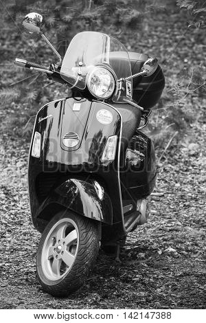 Old Scooter Vespa By Piaggio, Black And White