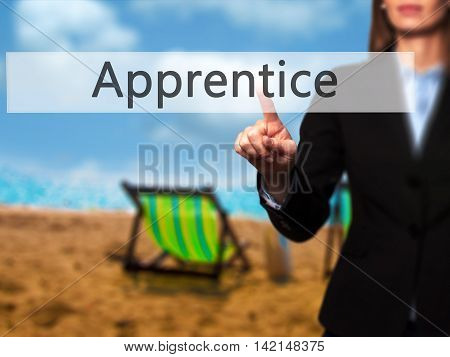 Apprentice - Isolated Female Hand Touching Or Pointing To Button