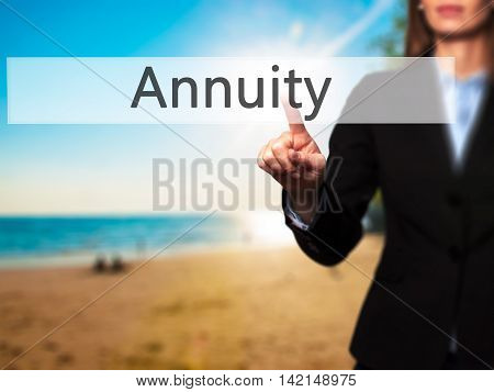 Annuity - Isolated Female Hand Touching Or Pointing To Button