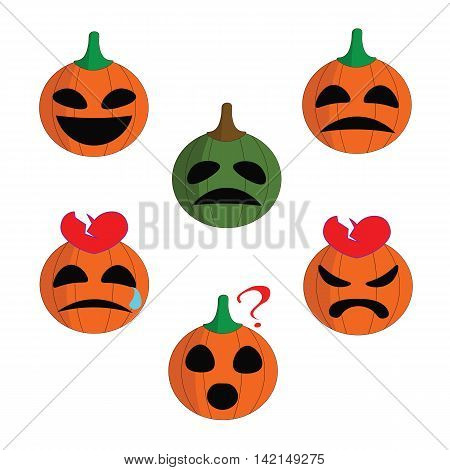 Hilarious funny cartoon emoticons pumpkin for Halloween.
