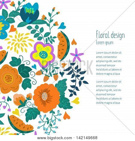 Greeting card with summer flowers. Illustrations can be used as card making wedding invitations birthday or other celebration as well as banner.