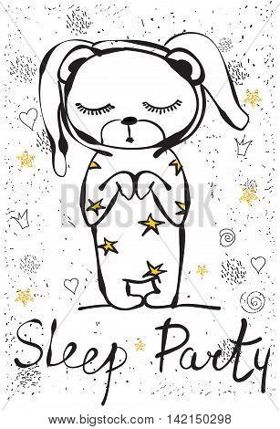 Cute cartoon bear rabbit in vector. Sleep party