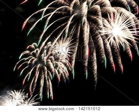 Show With Big Colorful Fireworks In The Dark Night