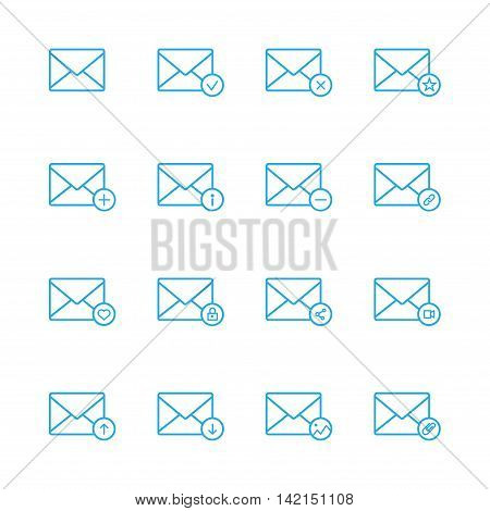 E-mail line blue icons set of 16