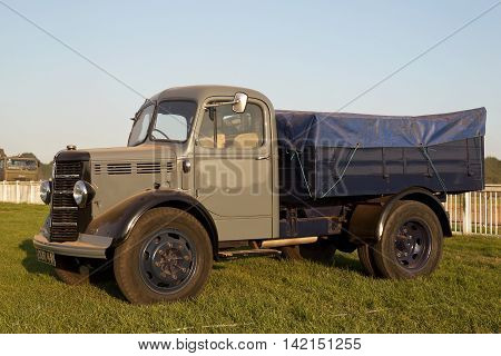 WESTERNHANGER, UK - JULY 20: A civilian vintage commercial lorry is put on public display on the main concourse at the War & Peace Revival show on July 20, 2016 in Westernhanger
