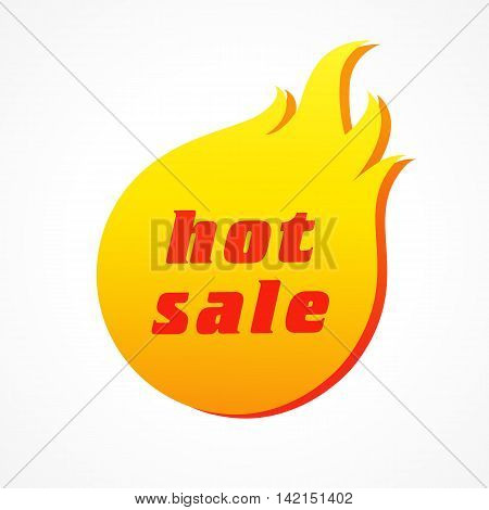 Hot sale fiery label or sticker. Discount ad with  vector design elements of fire.