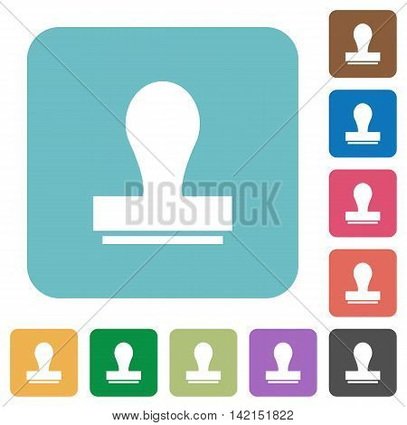 Flat stamp icons on rounded square color backgrounds.