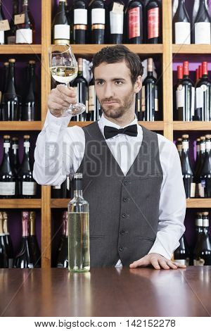 Bartender Examining White Wine In Glass At Shop
