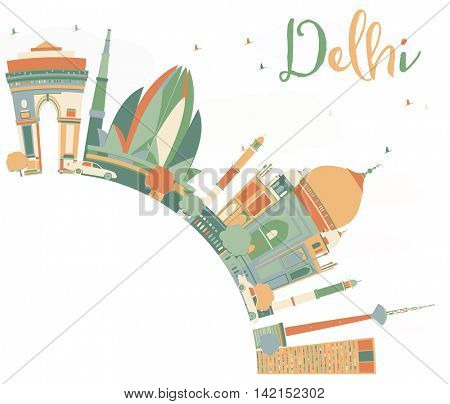 Abstract Delhi Skyline with Color Landmarks and Copy Space. Vector Illustration. Business Travel and Tourism Concept with Historic Buildings. Image for Presentation, Banner, Placard and Web Site.