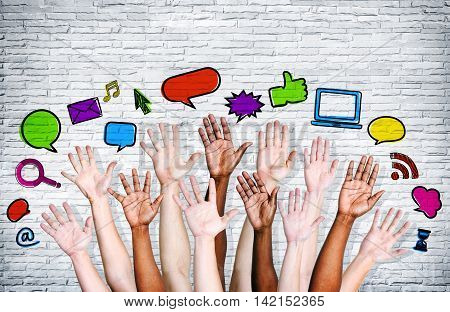 multi racial hands with Social networking icons.