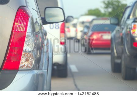 Traffic Jam on the evening time, blurred cars on the road