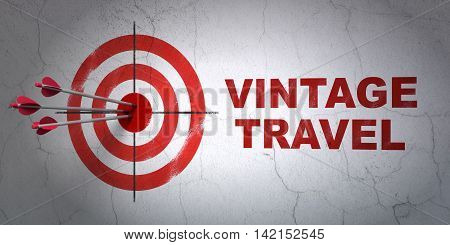 Success travel concept: arrows hitting the center of target, Red Vintage Travel on wall background, 3D rendering