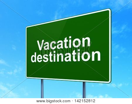 Tourism concept: Vacation Destination on green road highway sign, clear blue sky background, 3D rendering