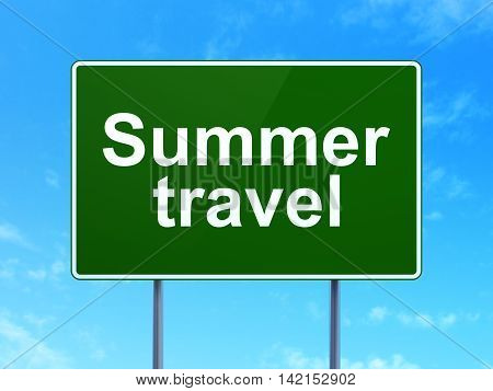 Tourism concept: Summer Travel on green road highway sign, clear blue sky background, 3D rendering