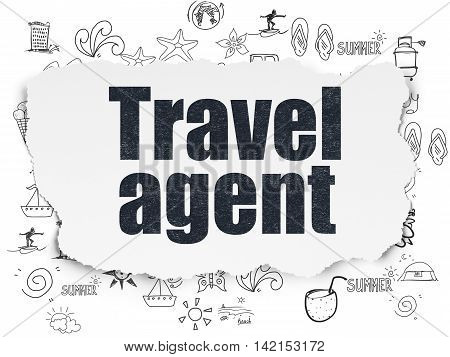 Vacation concept: Painted black text Travel Agent on Torn Paper background with  Hand Drawn Vacation Icons