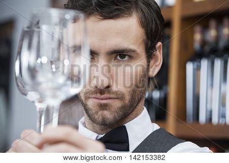 Bartender Examining Wineglass At Winery