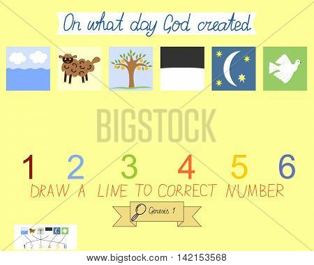 Task for children how to place days of creation. Book Of Genesis. Creation of the world. Sunday school