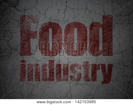 Industry concept: Red Food Industry on grunge textured concrete wall background
