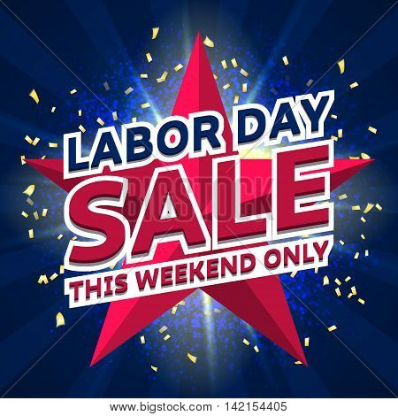 Banner for Labor day sale. Vector illustration for business promotion. Background of blue dust explosion for seasonal sale.