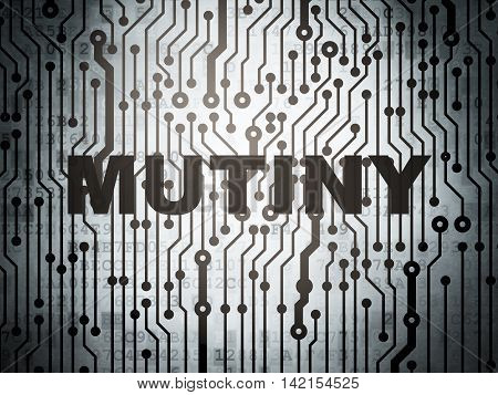 Politics concept: circuit board with  word Mutiny, 3D rendering