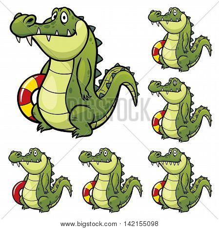 Vector Illustration of make the choice matching - Crocodile