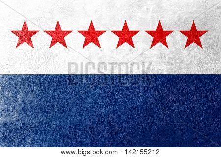 Flag Of Sao Joao Da Barra, Rio De Janeiro State, Brazil, Painted On Leather Texture