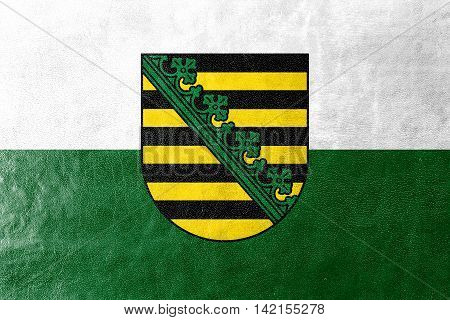Flag Of Saxony With Coat Of Arms, Germany, Painted On Leather Texture