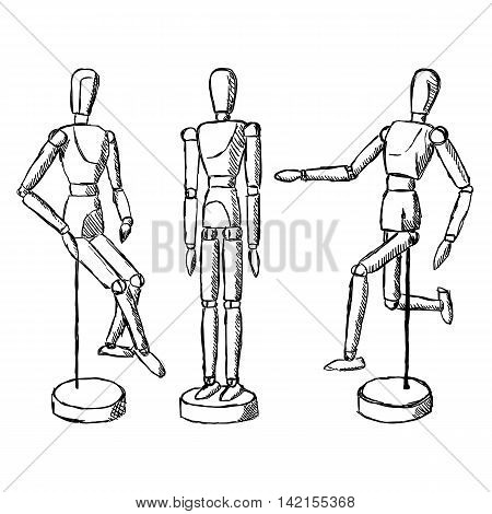 Wooden mannequin art figurine. Dummy model toy for drawing. Posing manikin on different poses.