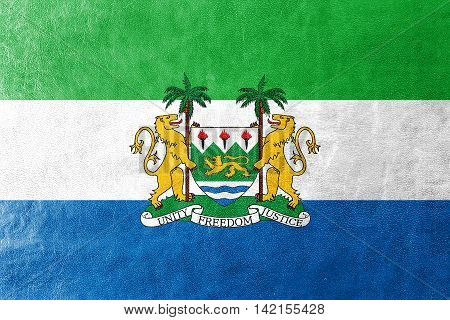 Flag Of Sierra Leone With Coat Of Arms, Painted On Leather Texture