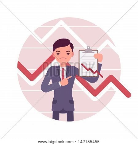 Businessman with clipboard. Negative red charts and graphs. Cartoon vector flat-style business concept illustration