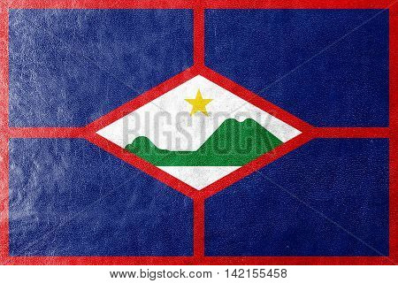 Flag Of Sint Eustatius, Netherlands, Painted On Leather Texture