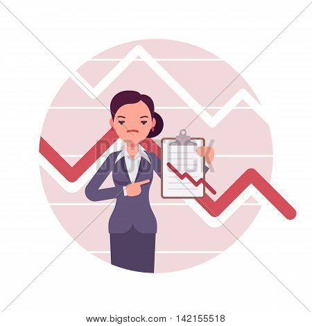 Businesswoman with clipboard. Negative red charts and graphs. Cartoon vector flat-style business concept illustration