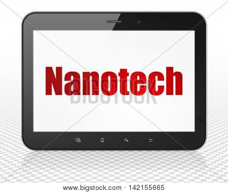 Science concept: Tablet Pc Computer with red text Nanotech on display, 3D rendering
