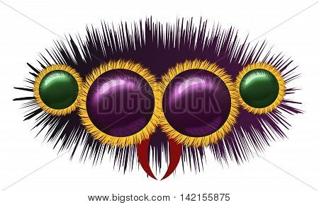 Image of the eyes of huge hairy spider