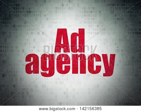 Advertising concept: Painted red word Ad Agency on Digital Data Paper background