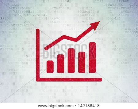 Marketing concept: Painted red Growth Graph icon on Digital Data Paper background