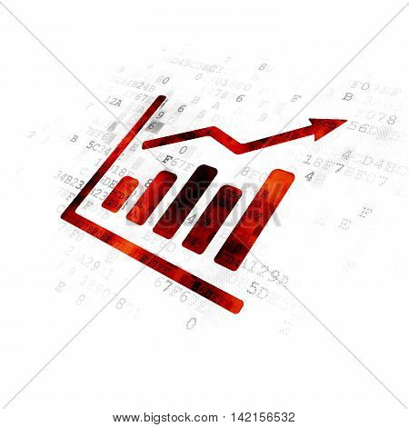 Marketing concept: Pixelated red Growth Graph icon on Digital background