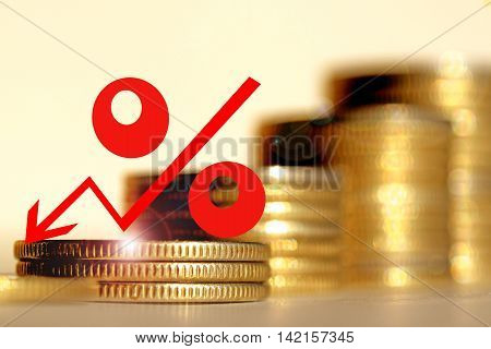 Red percent sign on a background of money . The concept of changing prices on the market